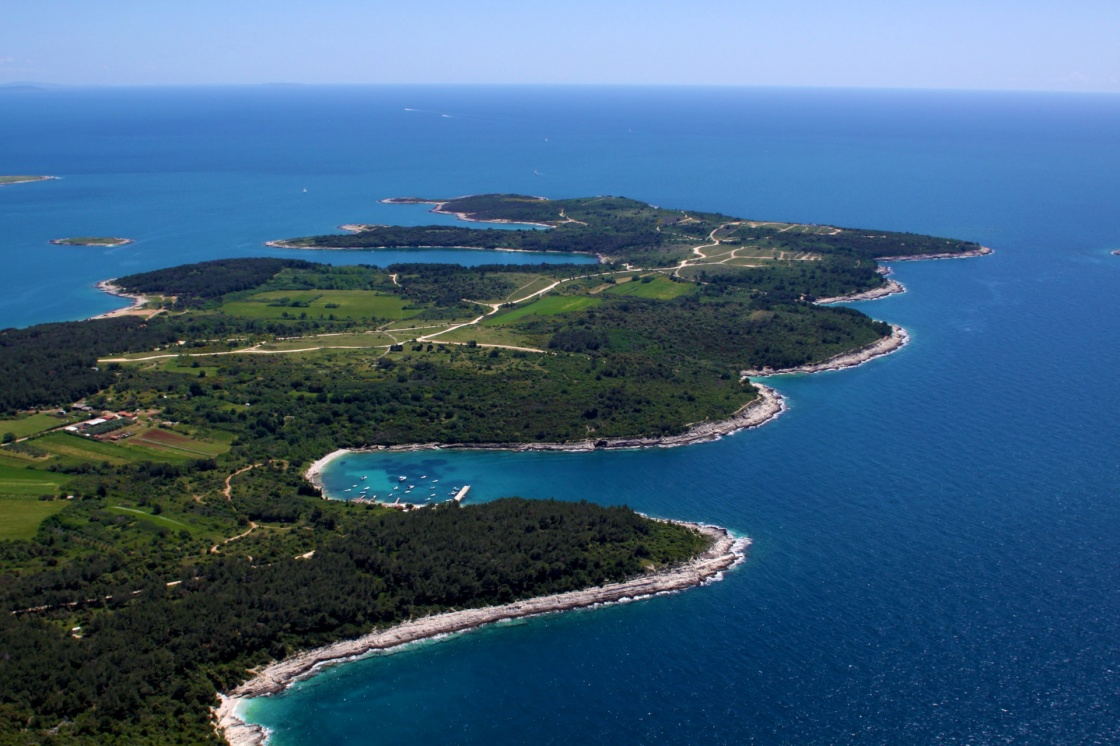 Aerial view of half island on Cape Kamenjak, Istria, Croatia, Europe